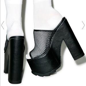 Dolls Kill Shoes - Black Mesh Open Toe High Platform Heel Pumps
